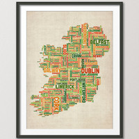 Ireland Eire City Text map, Art Print 18x24 inch (949)