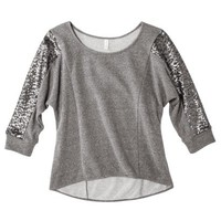 Xhilaration® Juniors Sequin Fleece Top - Assorted Colors
