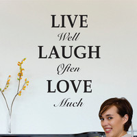 live well - laugh often - love much Wall Decal Quote Large vinyl wall art