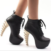 Sexy Wmens Special High Bone Looks Heels Platform Round Toe Boots Shoes Black