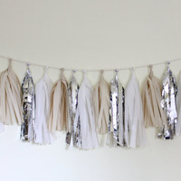 Tissue Tassel Garland-18 tassels-Wedding White