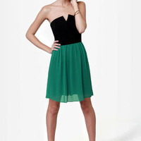 Run Me Jagged Strapless Black and Teal Dress