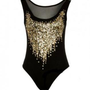 Black Sleeveless Bodysuit with Sequin Detail Front