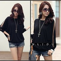New Womens Fashion Tops Loose Sexy Lace OL Long Sleeve Top Women Blouse T shirt