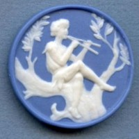 Female figure in the Neo-classic style button ceramic button