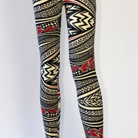 Red Pattern Leggings | Late Manta