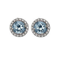 Brian Danielle Blue Topaz Diamond Studs - Max &amp; Chloe