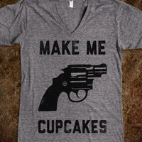 Make Me Cupcakes (Vintage V-Neck) - The Coffee Shop