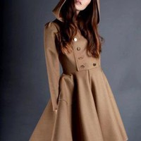 Brown Coat - Brown Hooded Olga by Red | UsTrendy