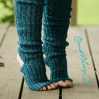 Yoga and dance socks / leg warmers  - Blue teal very long, above the knee knitted comfortable europeanstreetteam Accessories Women