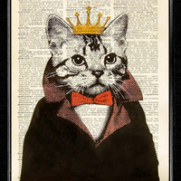 Cat King ORIGINAL ARTWORK hand painted Mixed Media by popcapopca