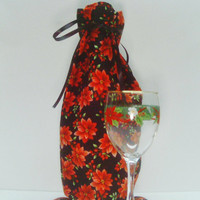 Holiday Christmas Wine Bag Poinsettia Gift Festive