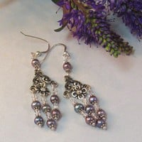 Freshwater Pearl Swarovski Crystal Chandelier Earrings On Sterling