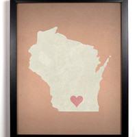 State Love Wisconsin Print (Pictured In Coral) Giclee, Art Print 8 x 10