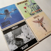 Nirvana Album Cover Ceramic Coasters - set of 4