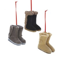 "Kurt Adler 2.5"" Resin Flocked Boots Ornament Set of 3"