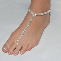 White pearl and rhinestone barefoot sandals
