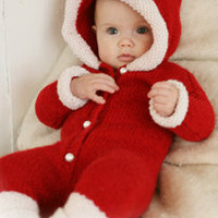 Christmas Santa Sleeper Onesuit DROPS Christmas jumpsuit with hood in 2 threads Alpaca