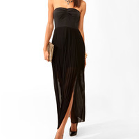 Pleated Slit Tube Dress