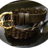 black leather handmade linked belt