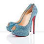 Christian Louboutin - Lady peep, strass,Saphir , evening, bridal, platforms, pumps, peep-toe, womens shoes