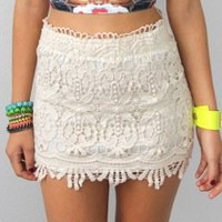 BEIGE FLORAL SCALLOPED HEM CROCHETED LACE HIGH WAISTED MINI TUBE SKIRT 8 10 12