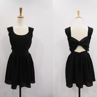 Black Chiffon Dress Sundress Summer Dress Sleeves Open Back Backless Bow Knee Party Dress Cocktail Dress