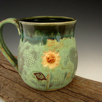 Rustic Sunflower Mug in Patina Green - Country Style - Coffee Mug - Large Mug - by DirtKicker Pottery