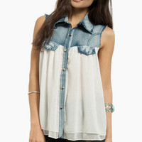 Southern Belle Denim Top $36