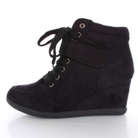 Black Faux Suede Laced Up Mid Strap Sneaker Wedges @ Amiclubwear Wedges Shoes Store:Wedge Shoes,Wedge Boots,Wedge Heels,Wedge Sandals,Dress Shoes,Summer Shoes,Spring Shoes,Prom Shoes,Women&#x27;s Wedge Shoes,Wedge Platforms Shoes,floral wedges,Fashion Wedge Sh