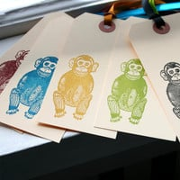 Cymbal Banging Monkey Gift Tags by BeanPaperDoll on Etsy