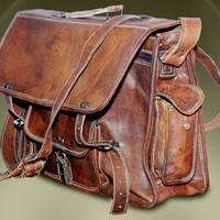 17.5 inch handmade leather messenger bag large retro leather bag satchel travel bag laptop bag office shoulder bag