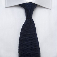 Men's Plain Navy Woven 100% Silk Tie