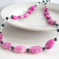 Pink Crazy Lace Agate & Snowflake Obsidian Sterling Silver Necklace