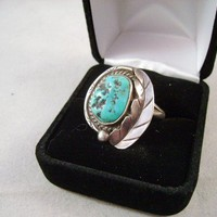 VINTAGE NATIVE AMERICAN NAVAJO TURQUOISE RING free by guysalley