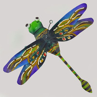 Painted Dragonfly Wall Sculpture -- Mexicali Blues