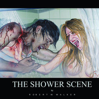 RW2 ZOMBIE Shower Curtain Cloth Shower Scene by Robert Walker Goth bathroom bloody dark art horror surreal