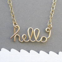 hello necklace 14K gold filled wire by PianoBenchDesigns on Etsy