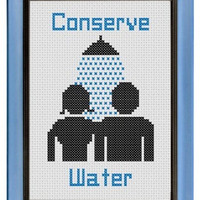 Pattern Funny Cross Stitch Conserve Water Bathroom Art Shower Sex Humorous Subversive Environmentally Friendly DIY PDF Original