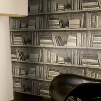 Bookshelf wallpaper - Sepia bookshelf wallpaper by Young &amp; Battaglia from Studiomold | Made By Mineheart | 70.00 | Bouf