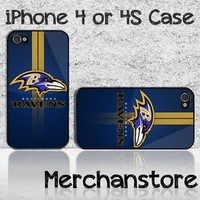 Baltimore Ravens NFL Tea Logo Custom iPhone 4 or 4S Case Cover