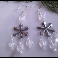 Antique Silver Plated Snowflake with Swarovski Crystal Beaded Earrings