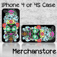 Sugar Girl Skulls Custom iPhone 4 or 4S Case Cover