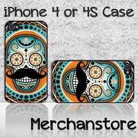 Sugar Skull Mustache Custom iPhone 4 or 4S Case Cover