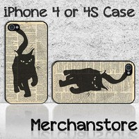 Unique Black Cat Silhouette Custom iPhone 4 or 4S Case Cover