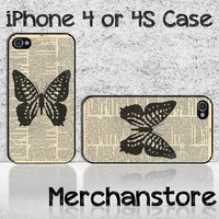 Unique Butterfly Custom iPhone 4 or 4S Case Cover