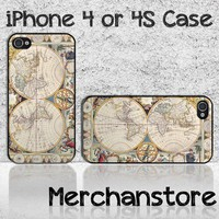 Unique Vintage World Map Retro Custom iPhone 4 or 4S Case Cover