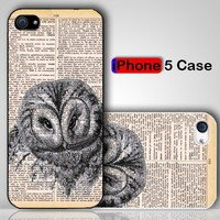 Retro Vintage Owl Custom iPhone 5 Case Cover