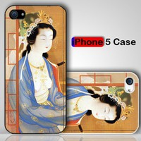 Retro Japanese Art Sexy Girl Kimono Dress Custom iPhone 5 Case Cover