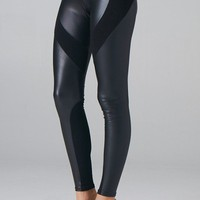 Black Pleather Panel Leggings